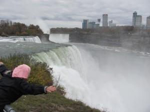 Trish flying at Niagara Falls
